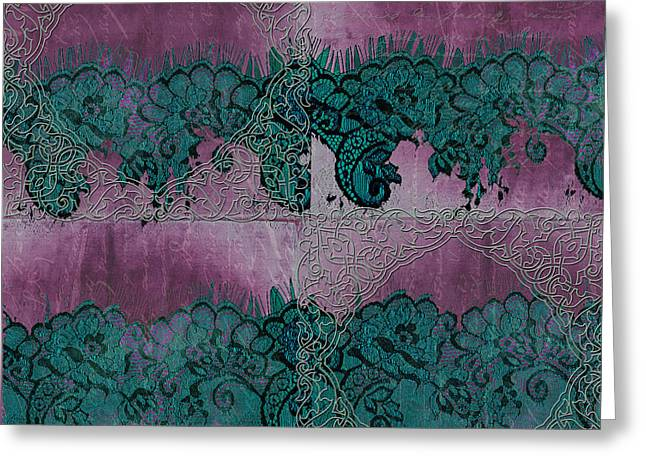 French Handwriting Greeting Cards - French Lace Greeting Card by Bonnie Bruno