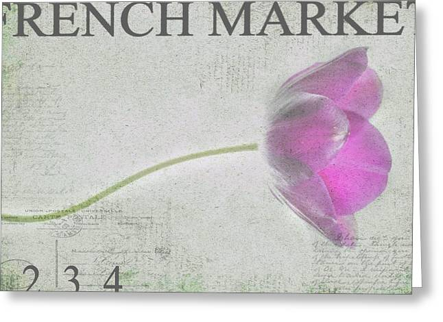 Purple Tulip Greeting Cards - French Market Series D Greeting Card by Rebecca Cozart