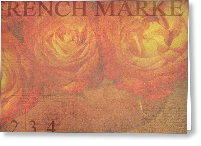 Orange Rose Greeting Cards - French Market Series N Greeting Card by Rebecca Cozart