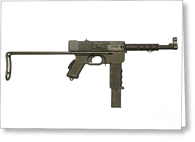 French Mat-49 Submachine Gun Greeting Card by Andrew Chittock