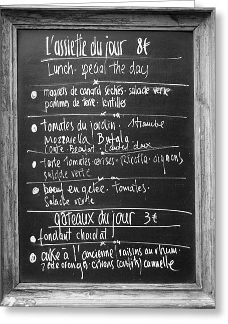 Menu Greeting Cards - French Menu Greeting Card by Nomad Art And  Design