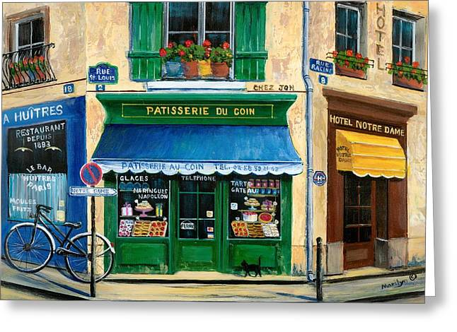Shop Window Greeting Cards - French Pastry Shop Greeting Card by Marilyn Dunlap