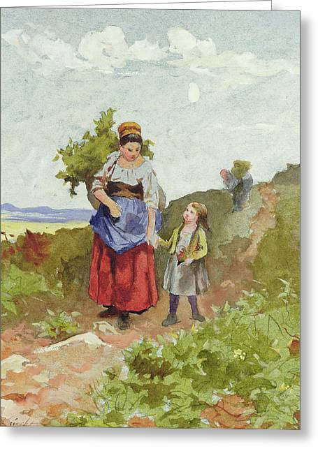 Daniel Paintings Greeting Cards - French Peasants on a Path Greeting Card by Daniel Ridgway Knight