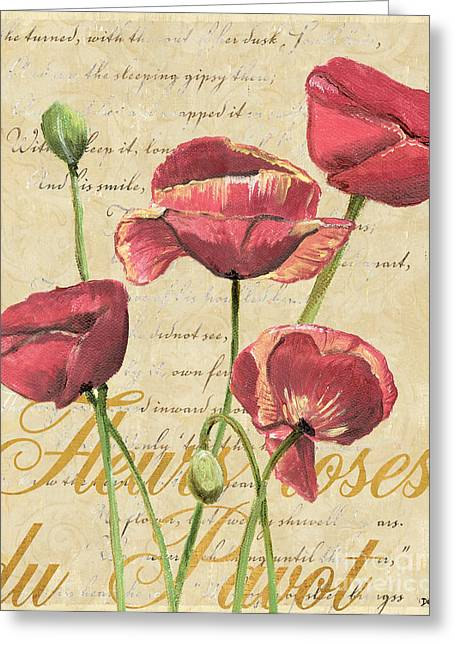 Poem Greeting Cards - French Pink Poppies 2 Greeting Card by Debbie DeWitt