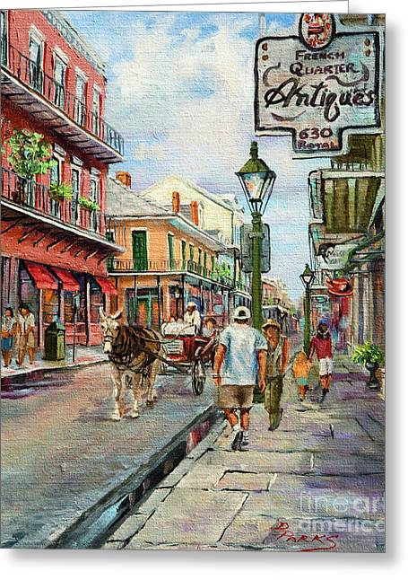 Royal Art Paintings Greeting Cards - French Quarter Antiques Greeting Card by Dianne Parks