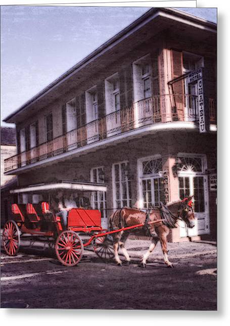 Horse And Buggy Greeting Cards - French Quarter Buggy NOLA Greeting Card by Federico Arce
