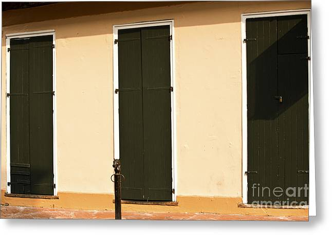 Leslie Leda Greeting Cards - French Quarter Doors  Greeting Card by Leslie Leda