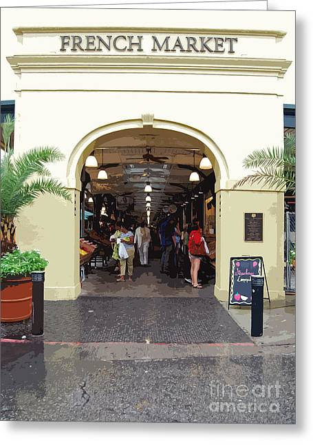 New Orleans Greeting Cards - French Quarter French Market Entrance New Orleans Cutout  Digital Art Greeting Card by Shawn O