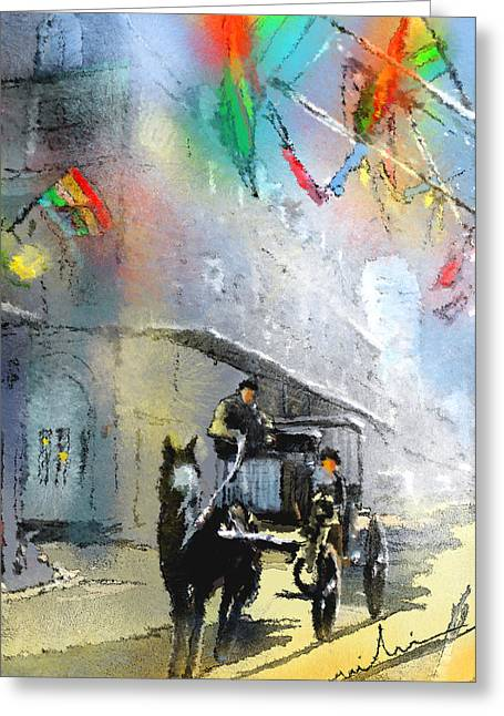 Quarter Horse Mixed Media Greeting Cards - French Quarter in New Orleans bis Greeting Card by Miki De Goodaboom