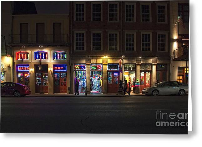 New Orleans Greeting Cards - French Quarter Shopping at NIght Greeting Card by Kathleen K Parker