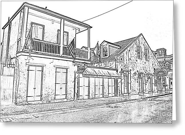 Photocopy Greeting Cards - French Quarter Tavern Architecture New Orleans Black and White Photocopy Digital Art Greeting Card by Shawn O