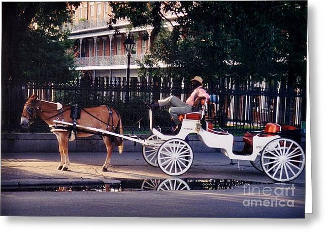 Jsm Fine Arts Greeting Cards - French Quarter Taxi Greeting Card by John Malone