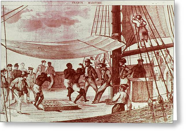 18th Century Greeting Cards - FRENCH SLAVE SHIP, 18th CENT Greeting Card by Granger