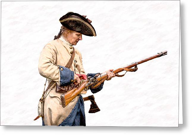 French And Indian War Greeting Cards - French Soldier Reloading Musket Greeting Card by Randy Steele