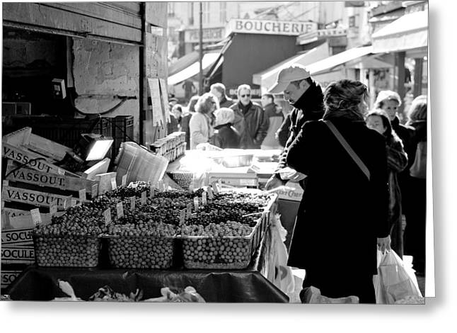 Shopping Greeting Cards - French Street Market Greeting Card by Sebastian Musial