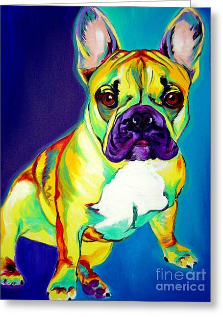 Whimsical Dog Art Greeting Cards - Frenchie - Tugboat Greeting Card by Alicia VanNoy Call