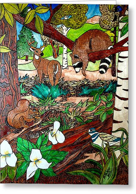 Frends Of The Forest Greeting Card by Mike Holder