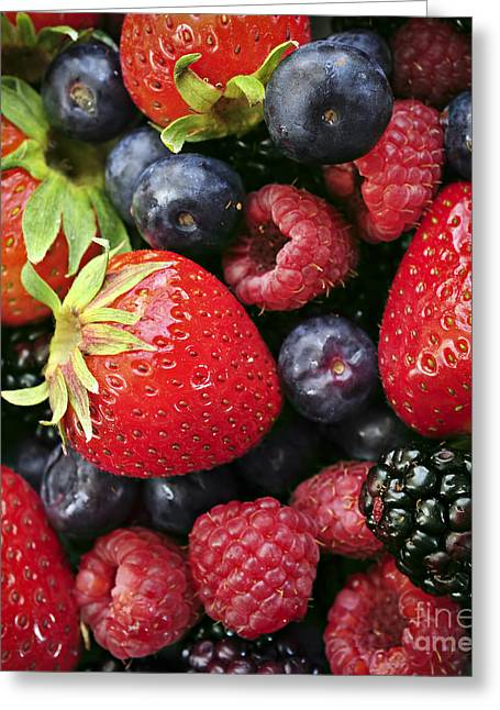 Vitality Greeting Cards - Fresh berries Greeting Card by Elena Elisseeva