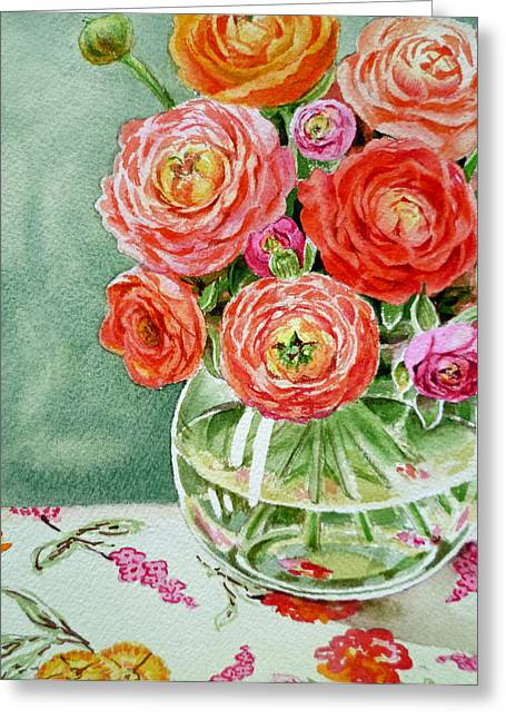 Ranunculus Greeting Cards - Fresh Cut Flowers Greeting Card by Irina Sztukowski