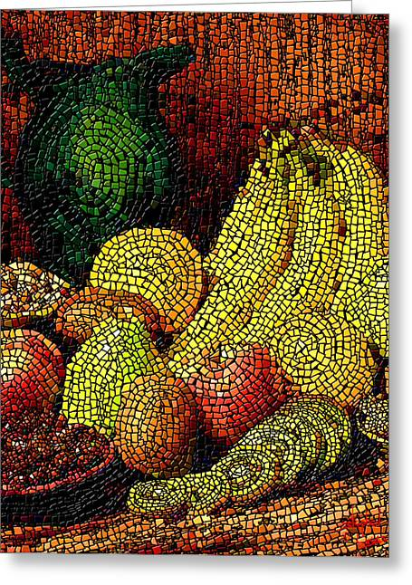 Banquet Greeting Cards - Fresh Fruit Tiled Greeting Card by Stephen Lucas