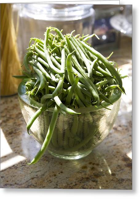 Green Beans Greeting Cards - Fresh Green Beans Greeting Card by Federico Arce