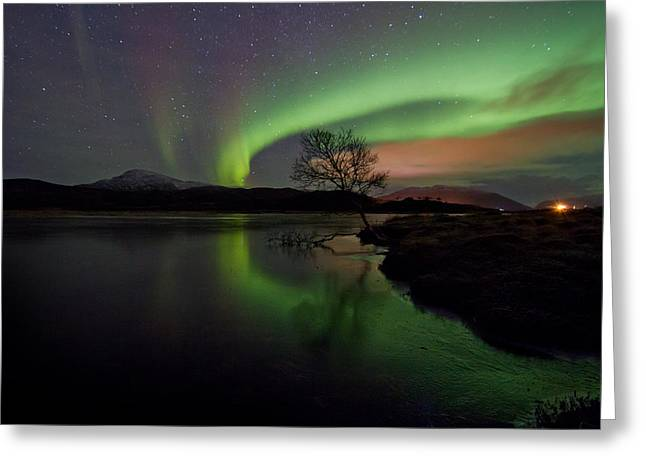 Photographing Aurora Greeting Cards - Fresh ice on the lake II Greeting Card by Frank Olsen