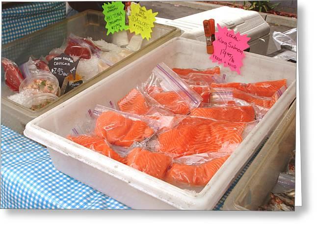 Food Pyrography Greeting Cards - Fresh king salmon Greeting Card by Hiroko Sakai
