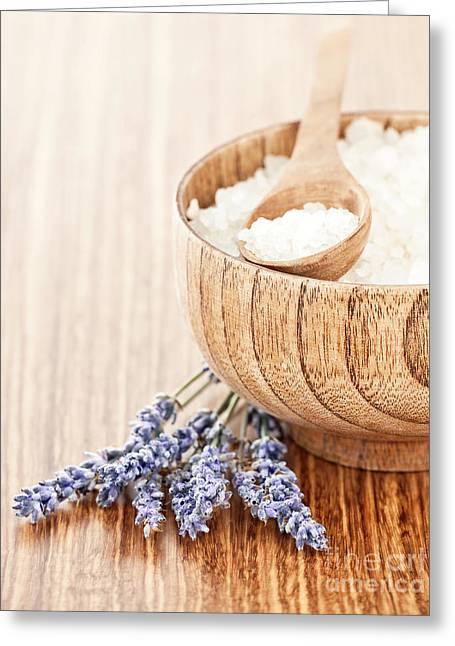 Wooden Bowl Greeting Cards - Fresh lavender flowers and wooden bowl with salt on the table Greeting Card by Anna Omelchenko