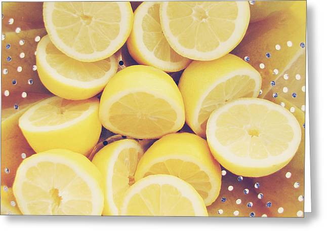 Lemon Art Greeting Cards - Fresh Lemons Greeting Card by Amy Tyler