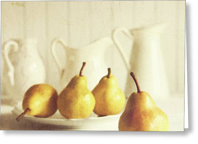 Fresh pears on old wooden table with vintage feeling Greeting Card by Sandra Cunningham
