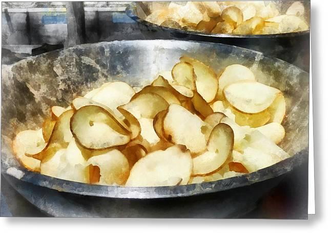 Potato Greeting Cards - Fresh Potato Chips Greeting Card by Susan Savad