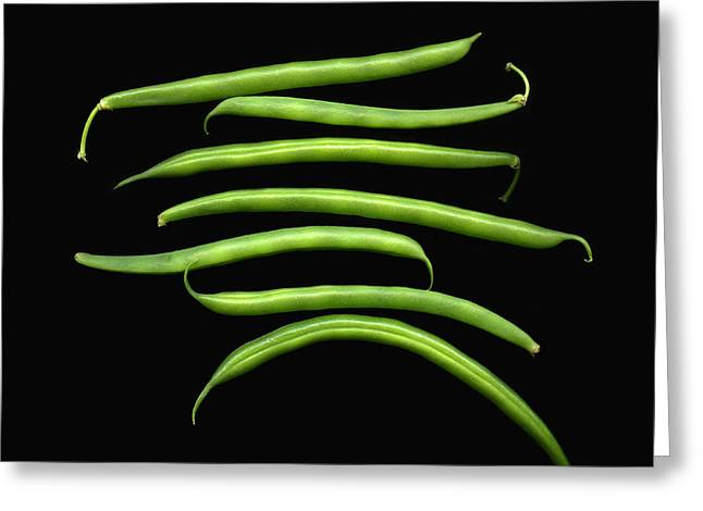 Fresh Produce. A Row Of Green Beans Greeting Card by Marlene Ford