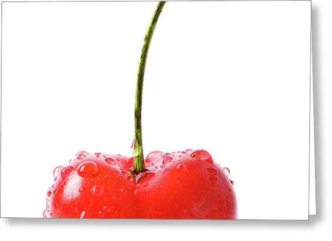 Fresh red cherry isolated on white Greeting Card by Sandra Cunningham