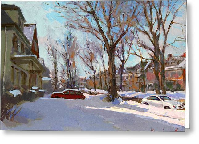 Snowscape Paintings Greeting Cards - Fresh Snow Greeting Card by Ylli Haruni