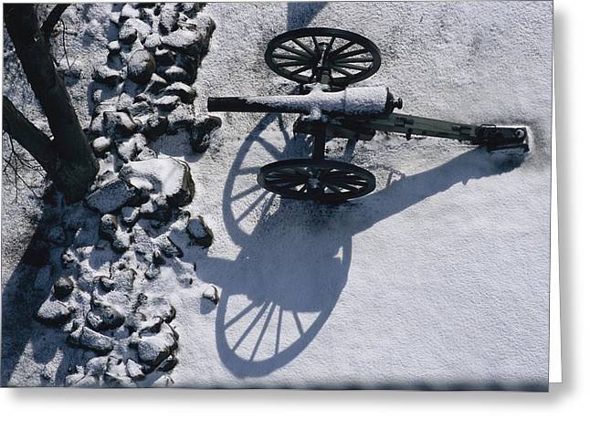 Park Scene Greeting Cards - Fresh Snowfall Outlines A Cannon Greeting Card by Stephen St. John