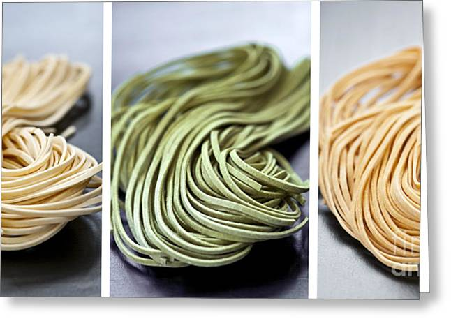 Tricolored Greeting Cards - Fresh tagliolini pasta Greeting Card by Elena Elisseeva