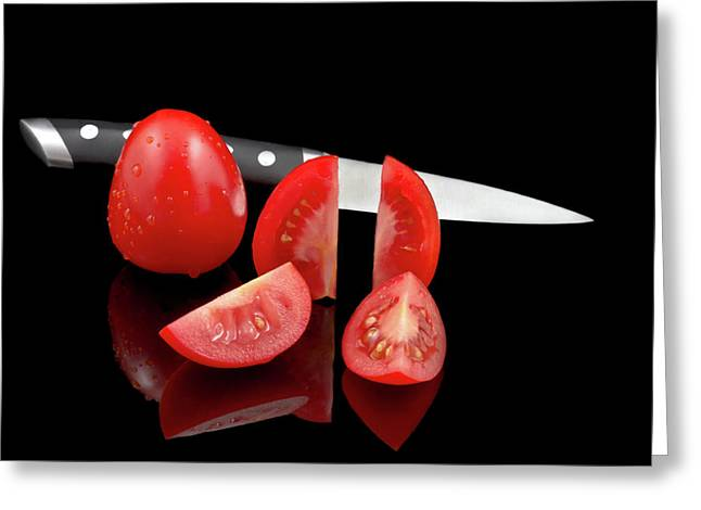 Fresh Produce Greeting Cards - Fresh Tomatoes and knife Greeting Card by Gert Lavsen