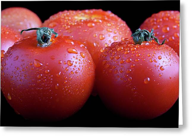 Harvesting Greeting Cards - Fresh Tomatoes Greeting Card by Gert Lavsen