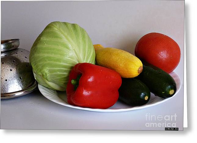 Colander Greeting Cards - Fresh Vegetables 2 Greeting Card by Methune Hively