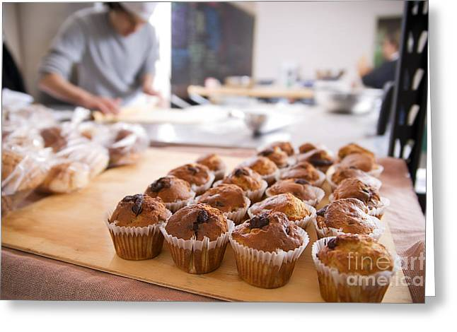 Freshly Baked Bread Greeting Cards - Freshly Baked Muffins Greeting Card by Jorge Malo