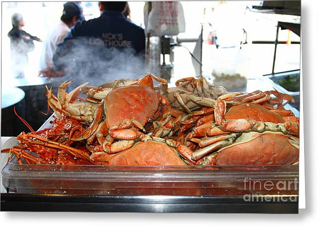 Freshly Cooked Steaming Hot Dungeness Crabs At Fishermans Wharf . San Francisco California . 7d14461 Greeting Card by Wingsdomain Art and Photography