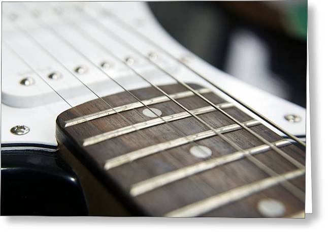 Frets On An Electric Guitar Greeting Card by Johnny Greig