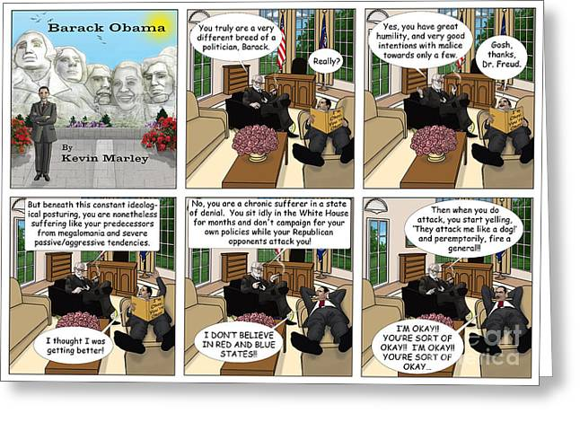 Michelle Obama Digital Art Greeting Cards - Freud and His Diagnosis Greeting Card by Kevin  Marley