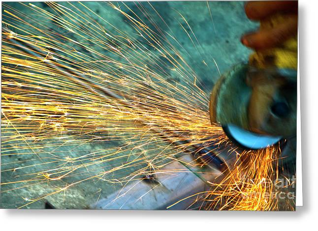Grinding Greeting Cards - Friction Greeting Card by Charuhas Images