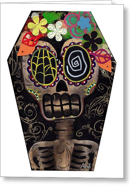 Gothic Surreal Greeting Cards - Frida in a Coffin Greeting Card by  Abril Andrade Griffith