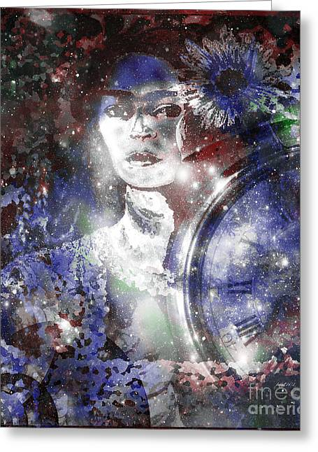 Calling Mixed Media Greeting Cards - Frida in Blue Greeting Card by Fania simon