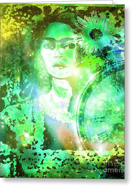 Calling Mixed Media Greeting Cards - Frida in Green Greeting Card by Fania Simon