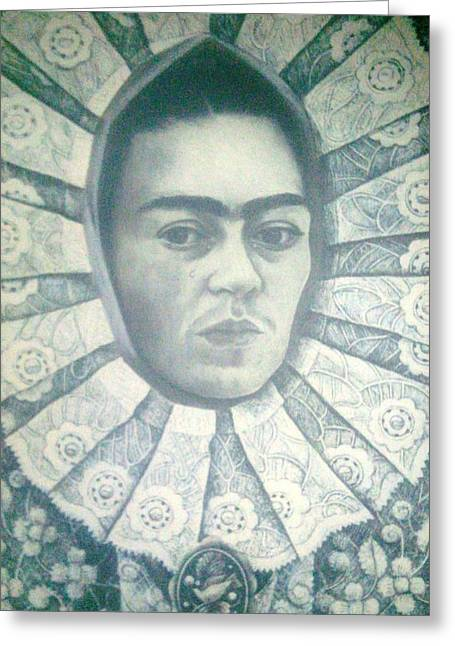 Unibrow Greeting Cards - Frida Kahlo 7 Greeting Card by Unique Consignment