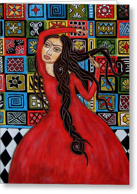 Folk Art Paintings Greeting Cards - Frida Kahlo Flamenco Dancing  Greeting Card by Rain Ririn