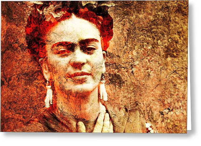 Amate Bark Paper Greeting Cards - Frida Kahlo Greeting Card by Jose Espinoza